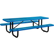 8 ft. Rectangular Outdoor Steel Picnic Table - Expanded Metal - Blue